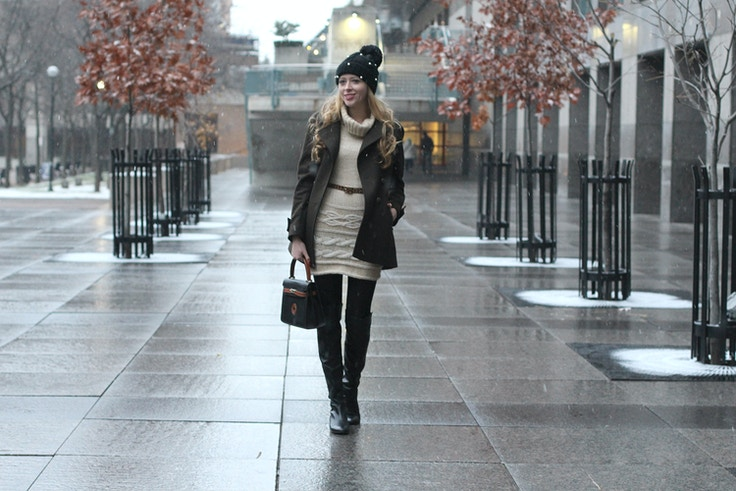 cable knit sweaterdress khaki coat