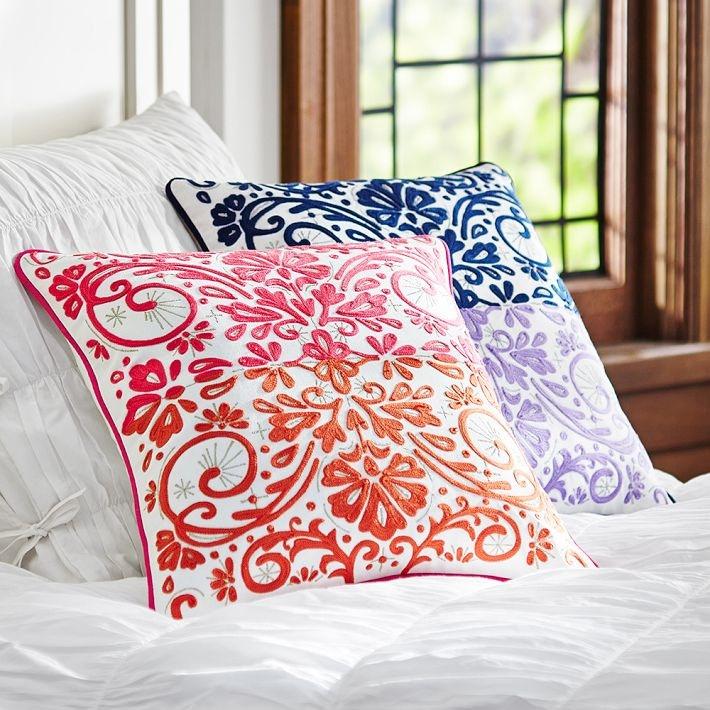 how to decorate your dorm room with throw pillows calypso crewel pillow cover pb dorm