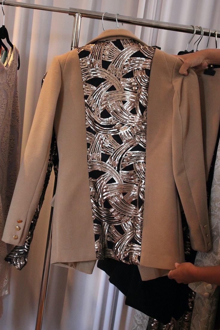 camel sequin jacket