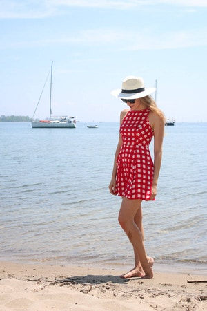design lab red gingham dress