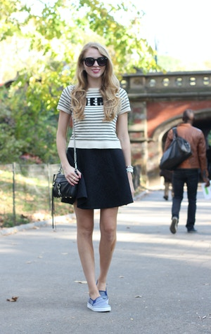 central park keds black skirt striped sweater