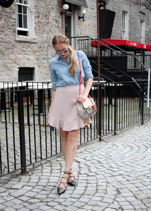 chambray shirt with pink skirt (2 of 11)