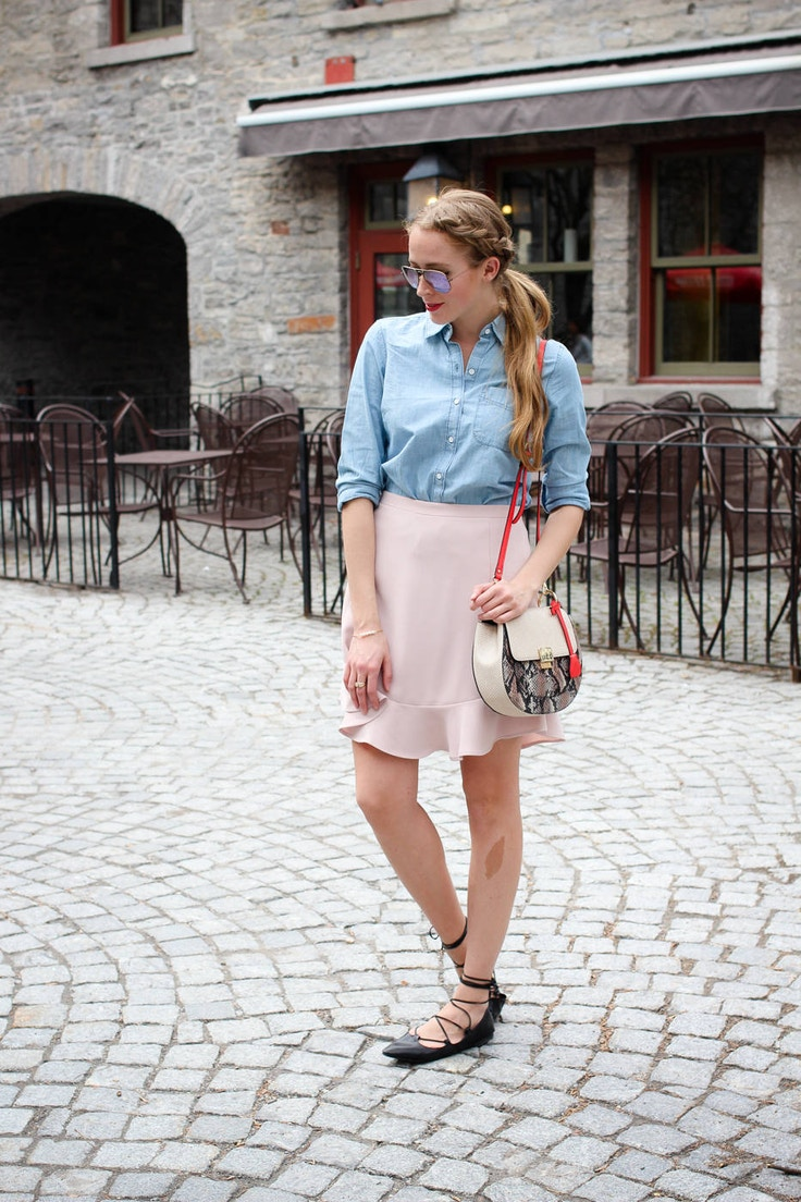chambray shirt with pink skirt (3 of 11)