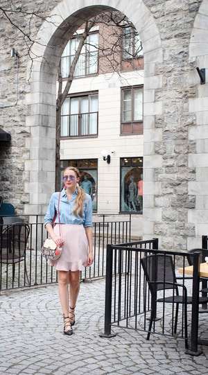 chambray shirt with pink skirt (5 of 11)