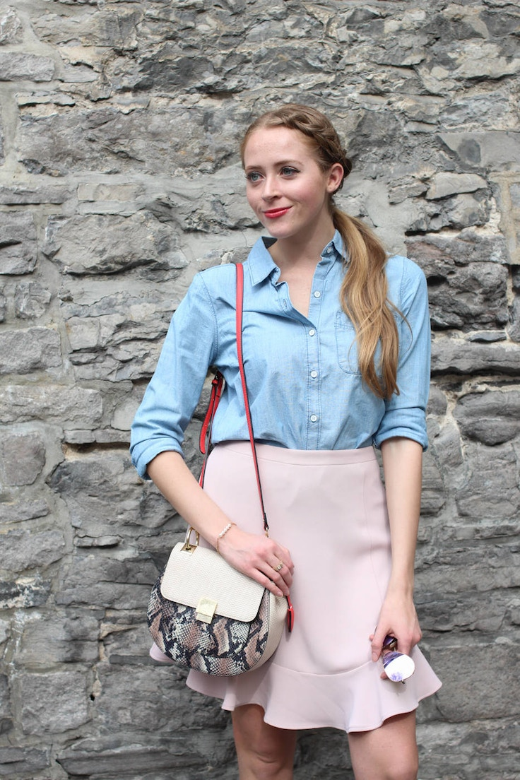chambray shirt with pink skirt (8 of 11)