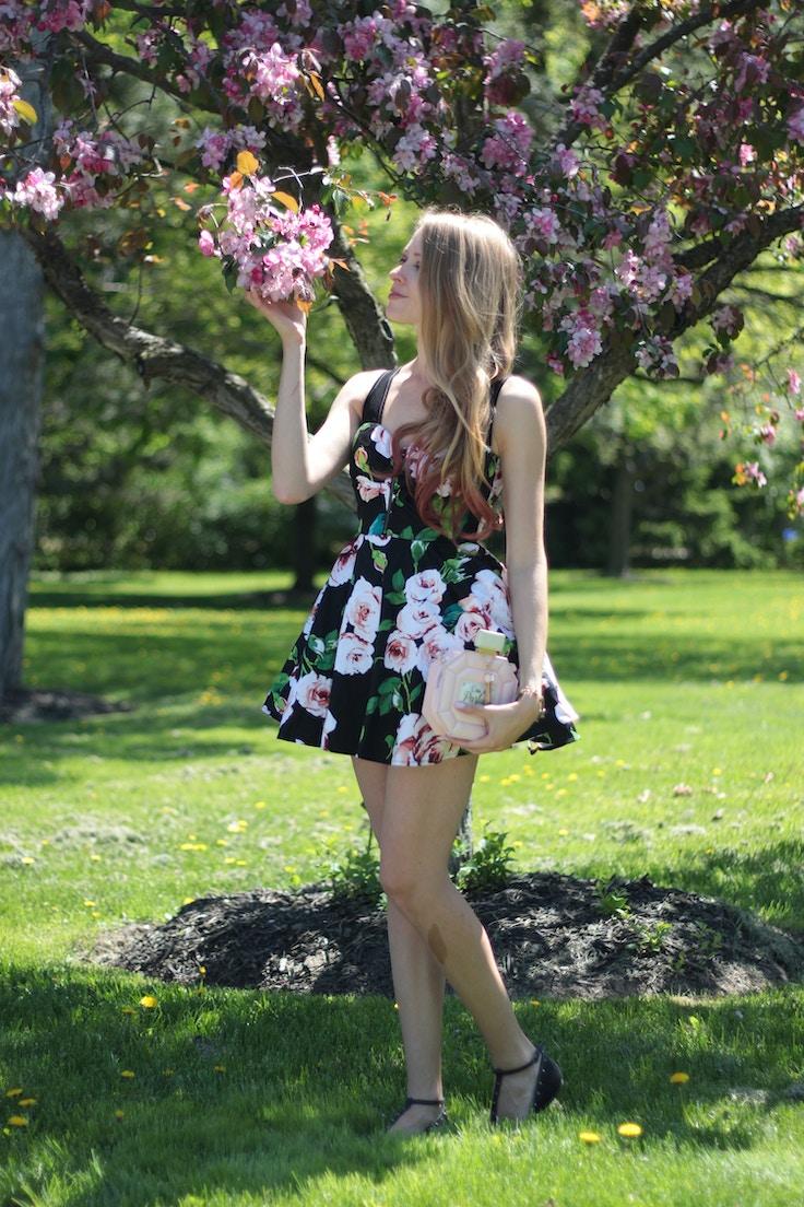 cherry blossoms girl in rose print dress