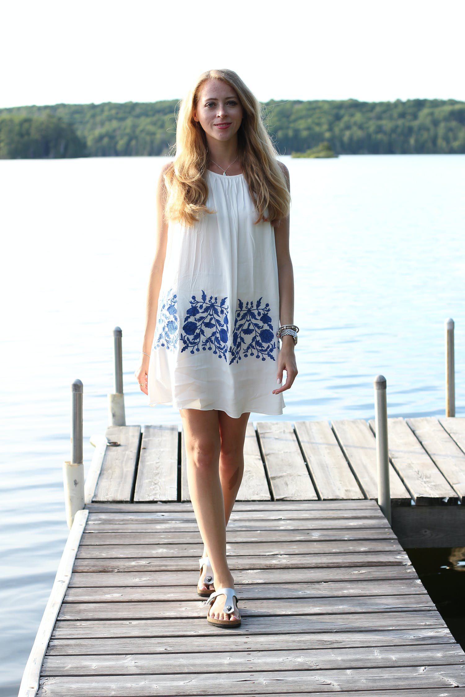 White and blue embroidered dress