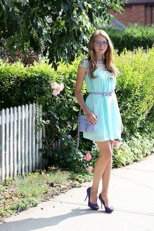 chicwish mint cage chiffon dress