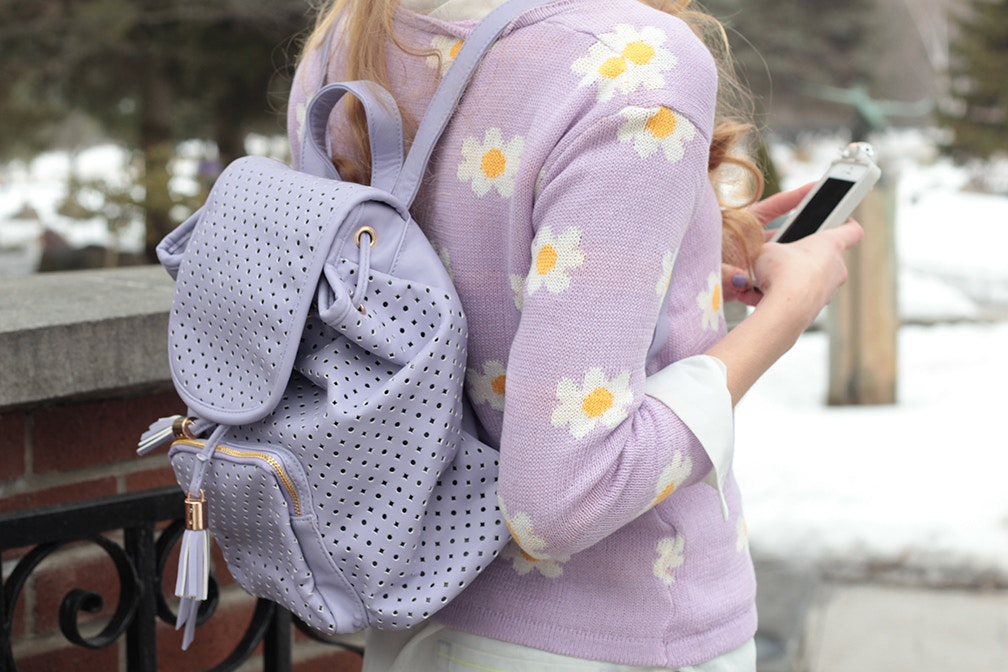 chicwish starry cutout purple backpack