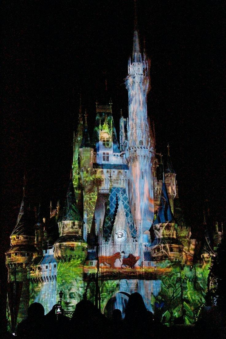 cinderella castle lion king projection