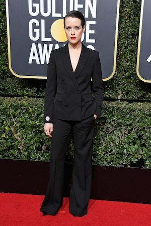 claire foy suit golden globes