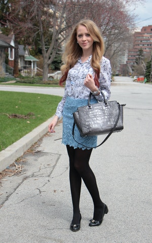 club monaco silk shirt blue lace skirt