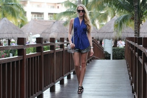 cobalt top sequin shorts