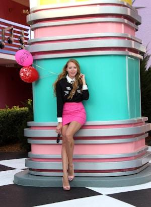 cool cat shirt pink skirt