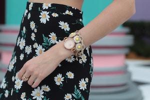 daisy print skirt fossil watch