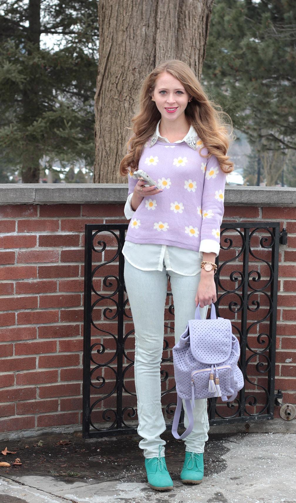 daisy print sweater chicwish