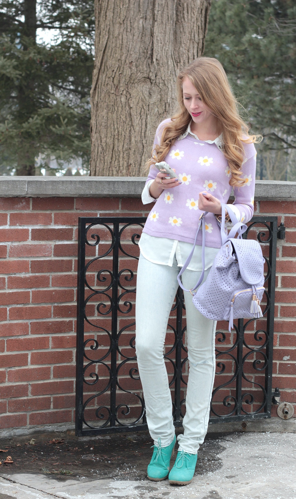 daisy print sweater purple backpack
