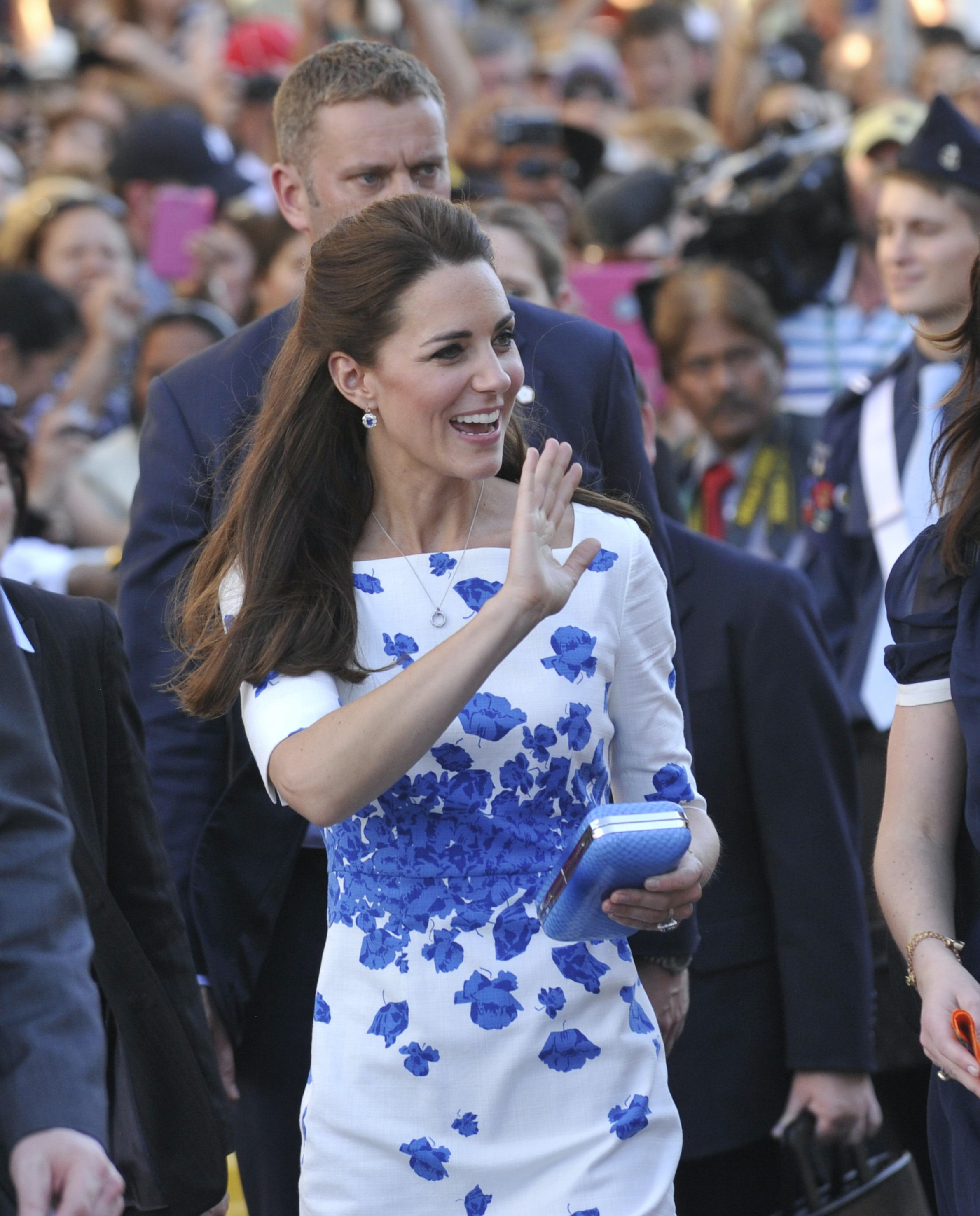day 13 kate middleton brisbane blue floral dress