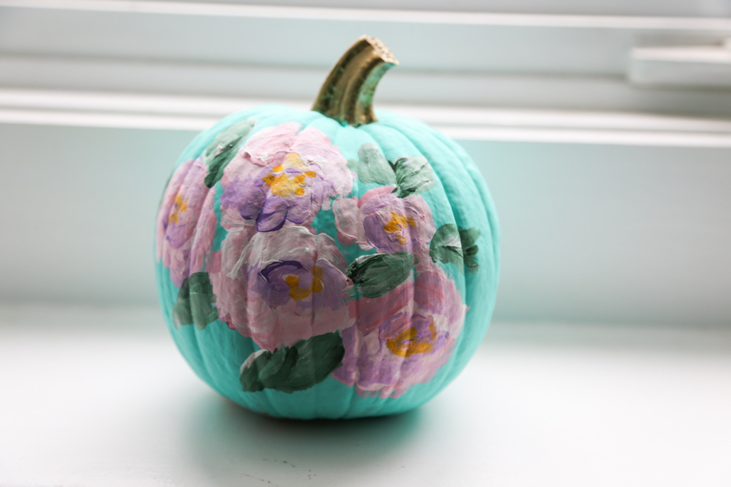 DIY Floral painted pumpkin