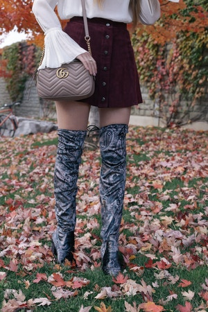 velvet over-the-knee-boots and gucci marmont shoulder bag
