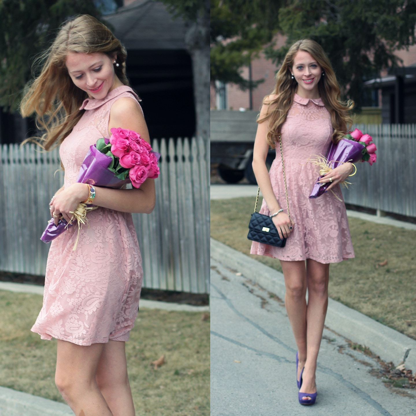 Pastel pink lace dress for Easter