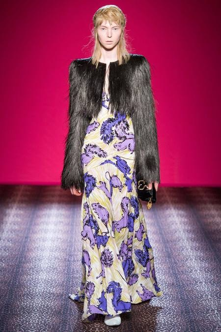 elsa schiaparelli fall 2014 couture squirrel dress