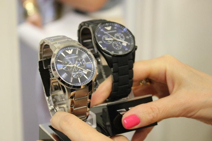 emporio armani blue watch dial
