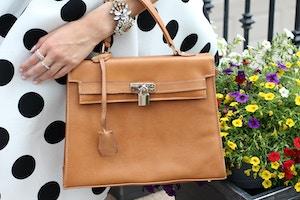 faux hermes kelly bag in brown