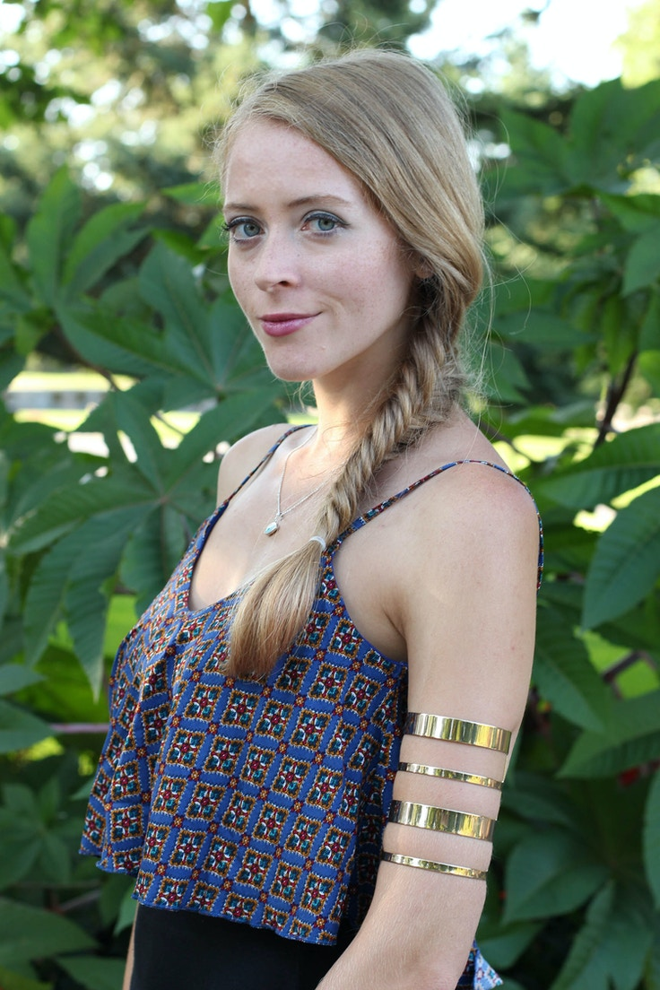 fishtail braid gold arm band