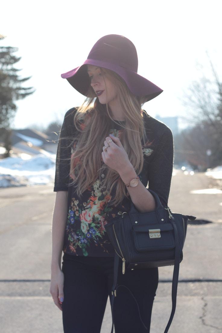 floppy wool burgundy hat