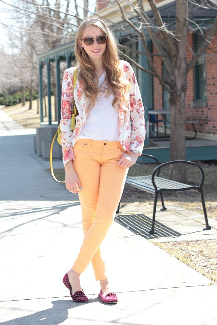 floral blazer white tee cantaloupe jeans