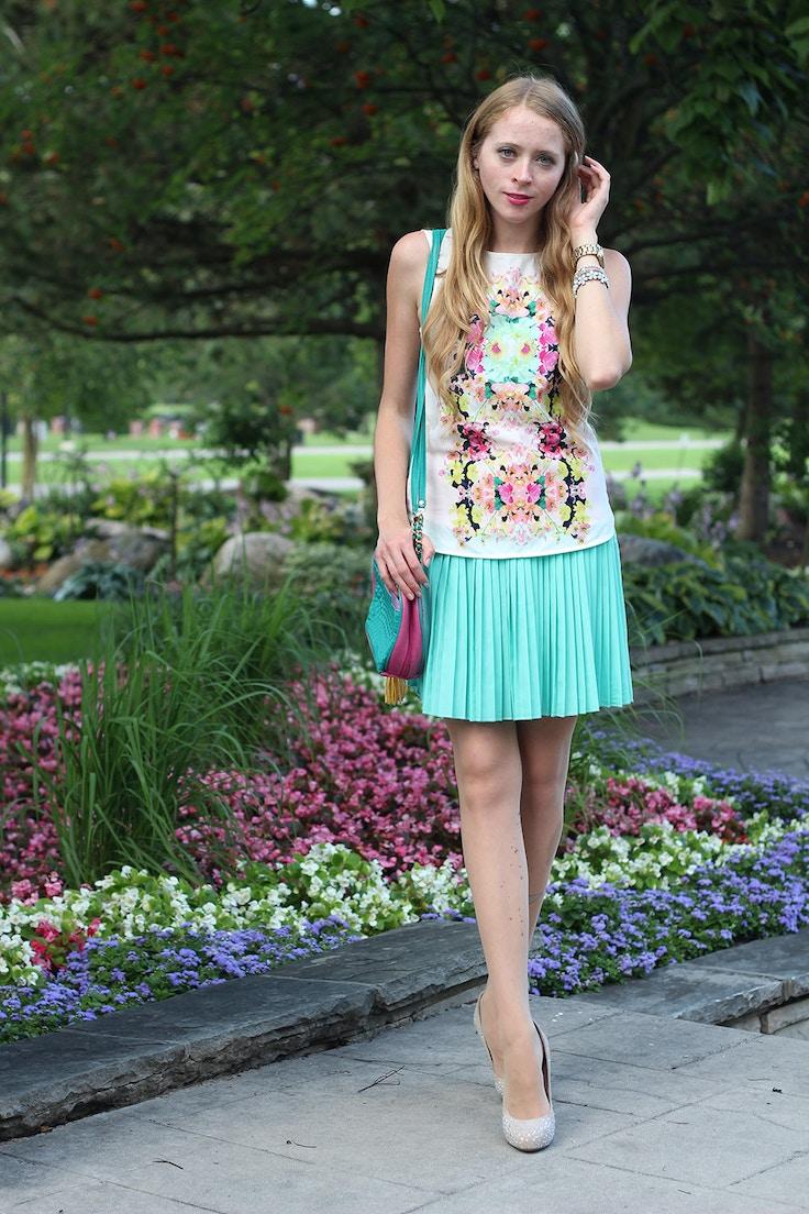 floral blouse mint skirt