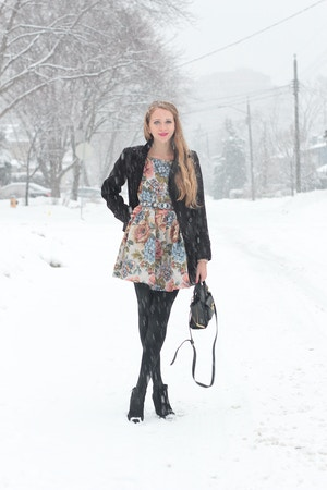 floral dress and black coat