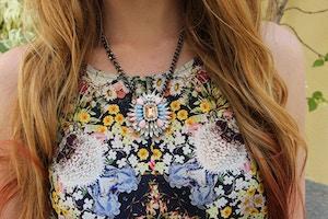 floral shirt statement necklace