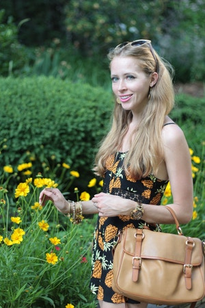 flower garden pineapple print dress