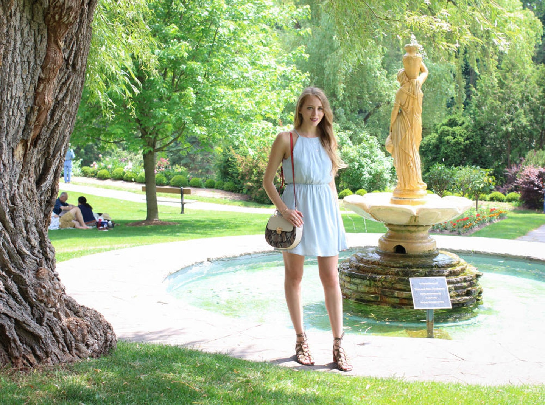 Blue chiffon halter dress