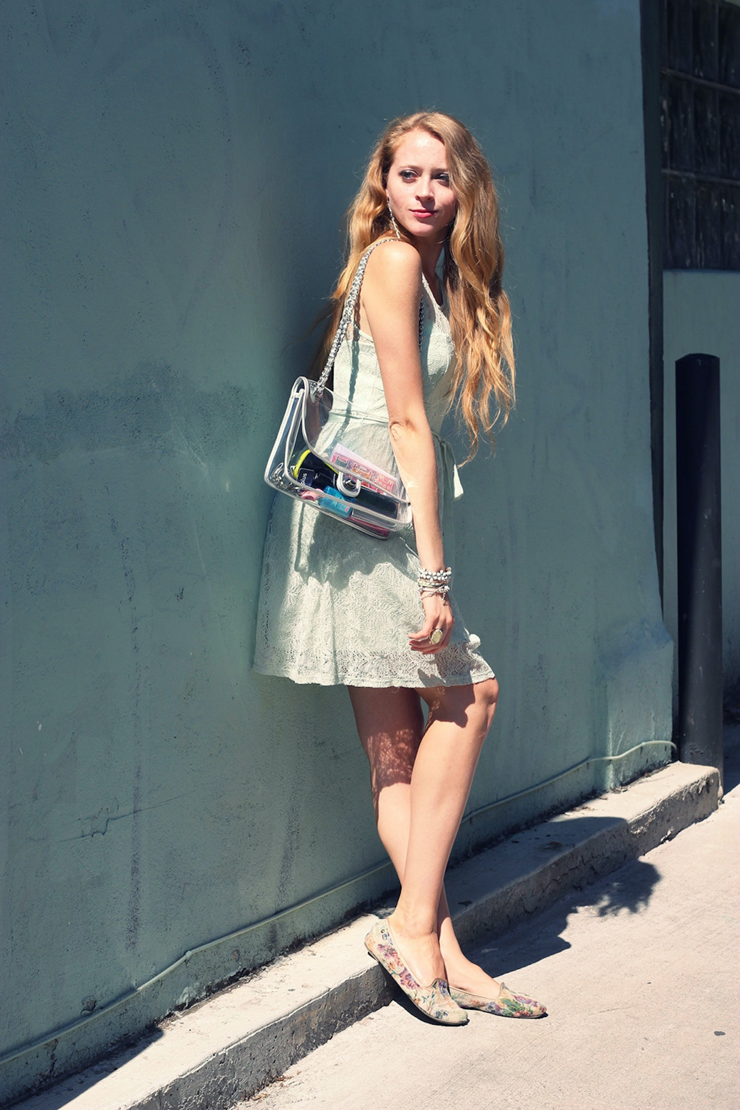 Mint lace dress & transparent purse