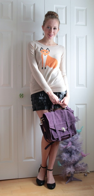 fox sweater fringe skirt