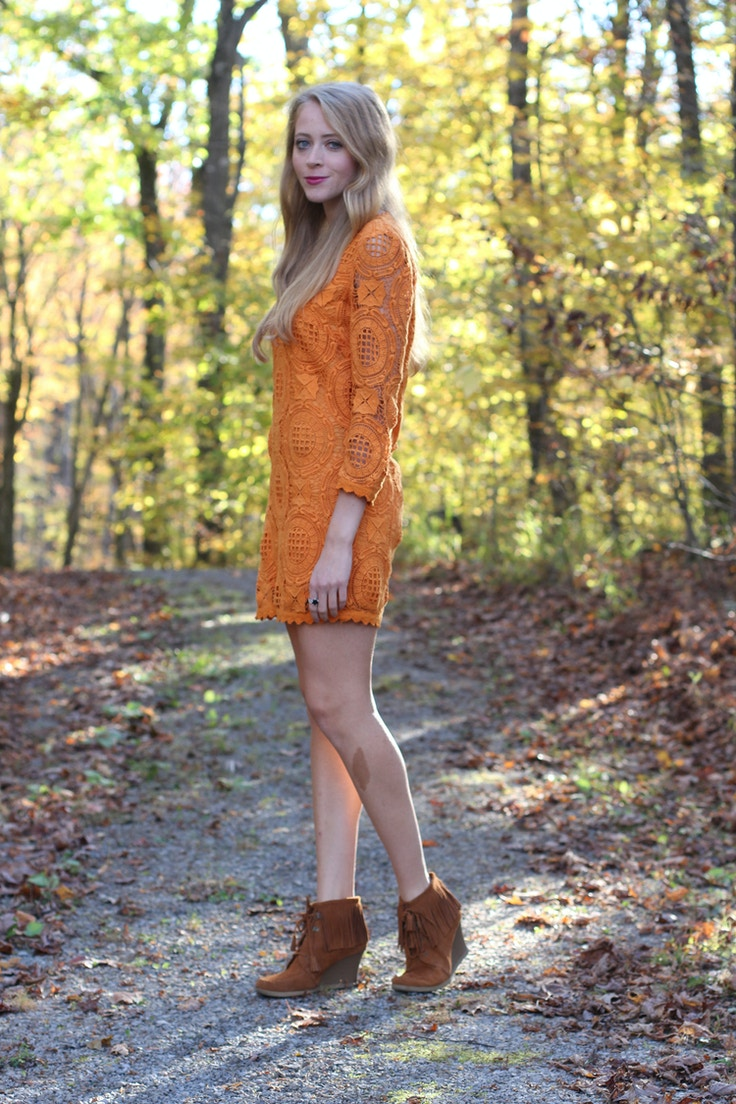 french connection orange lace dress