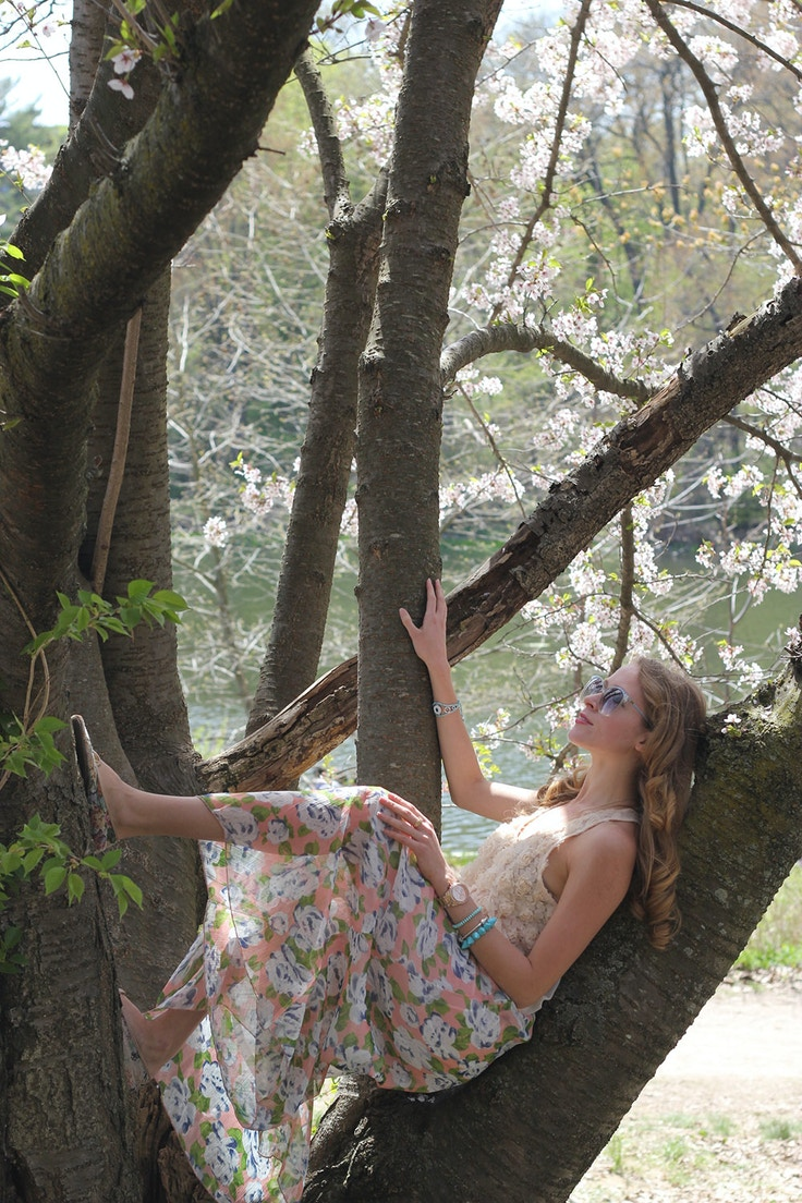 girl in a cherry tree