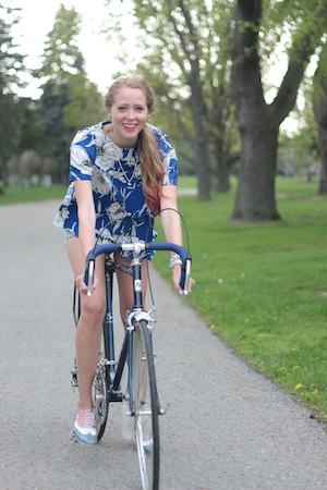 girl riding road bike levi's 501 shorts