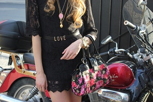gold accessories black lace dress