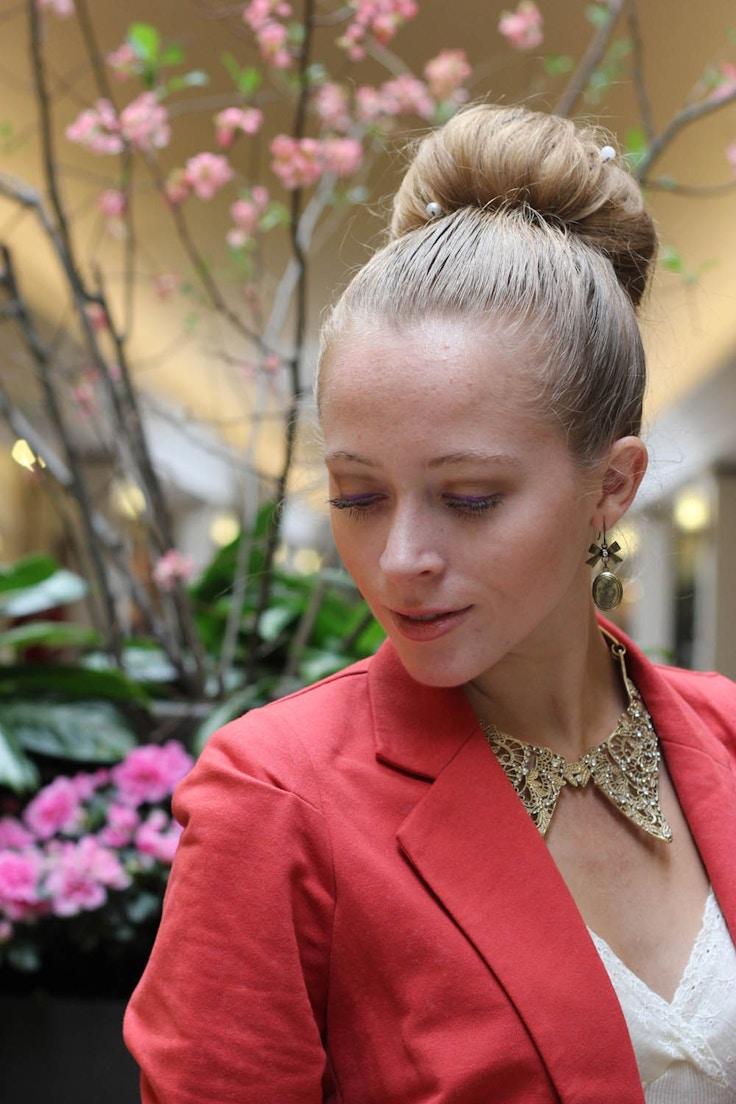 gold collar necklace sock bun chanel pearl hair pins