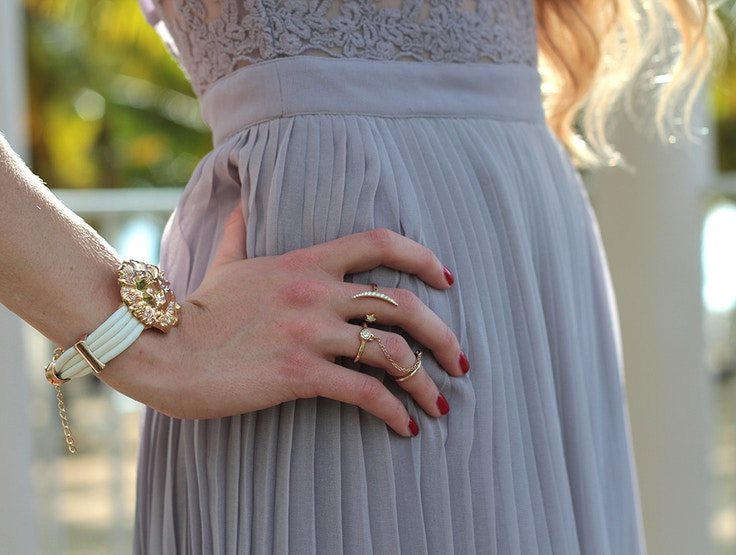 gold jewelry purple pleats