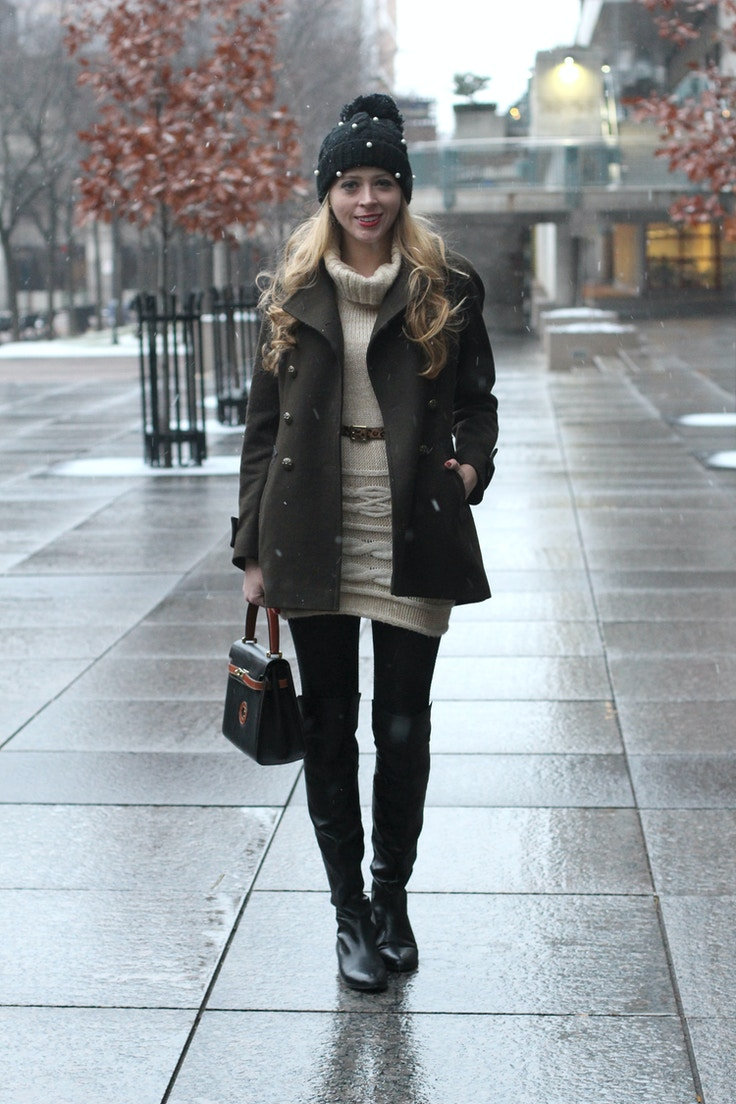 green khaki wool coat cable sweater dress