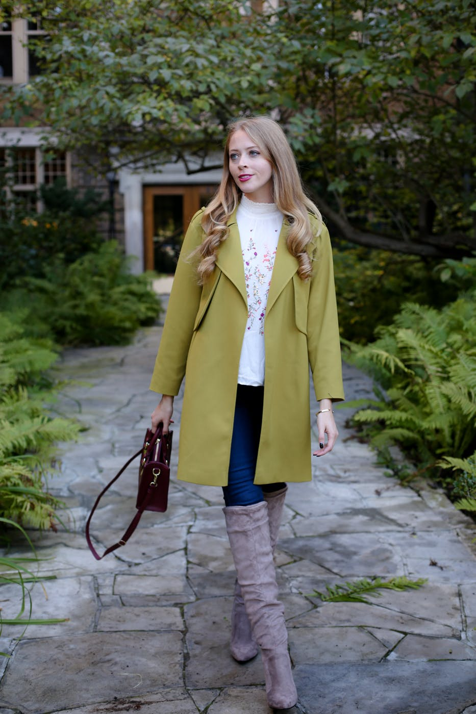 Green trench coat + over the knee boots