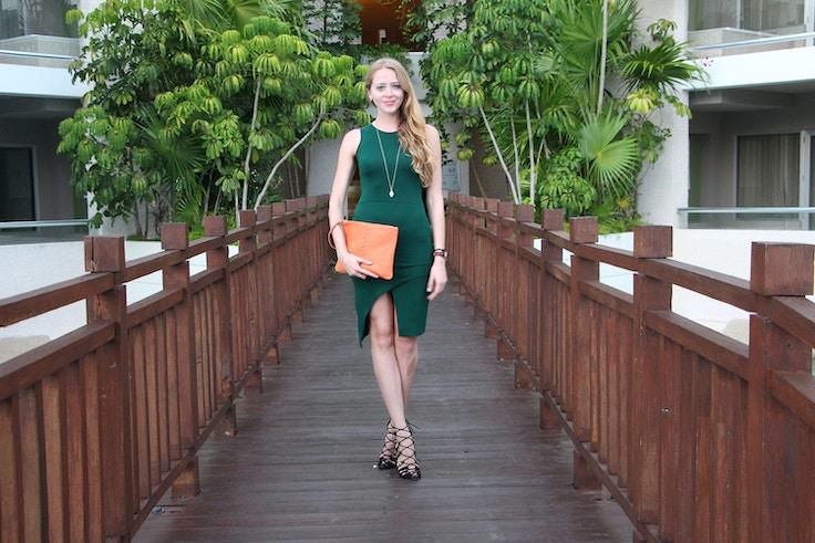 missguided green dress tulip hem skirt ela clutch