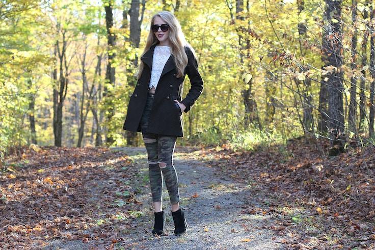 green wool coat camo jeans