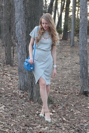 grey foldover dress