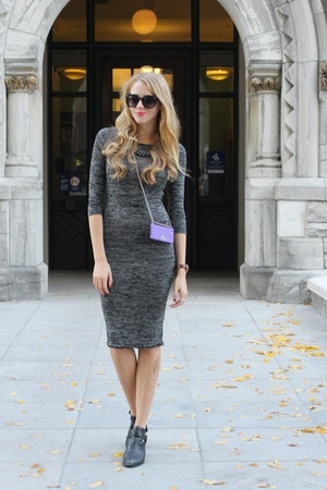 grey midi dress forever 21 jc everly booties
